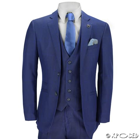 Jaket Jas Blazer Casual Biru Navy mens 3 suit blue check on navy vintage retro smart