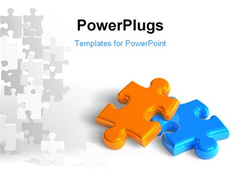 powerpoint template two glossy puzzle pieces depicting