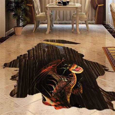 3d dinosaur sticker on ground creative decal
