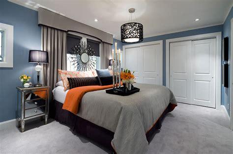 Behind The Orange Curtain Jane Lockhart Blue Gray Orange Bedroom Contemporary