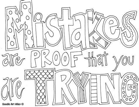 printable quotes coloring pages mistakes are proof that you are trying for teaching
