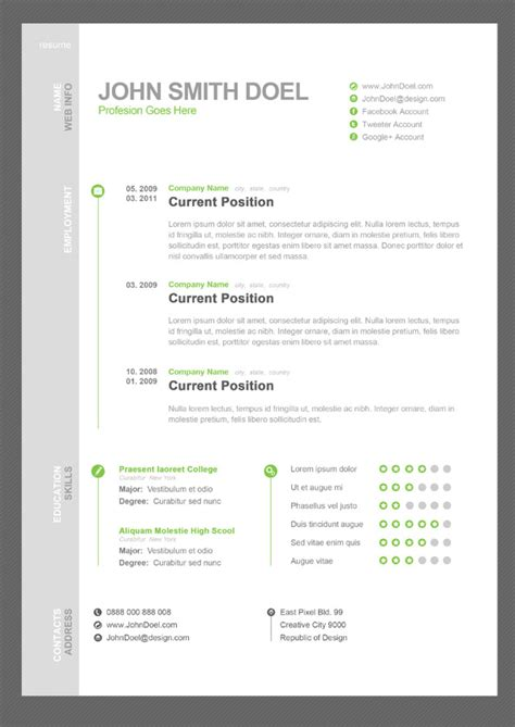 Cv Resume Free Psd Template Free Psd Files Free Photoshop Resume Templates