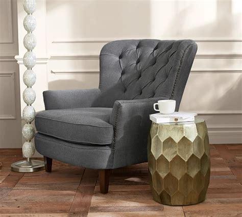 pottery barn armchair cardiff tufted upholstered armchair pottery barn