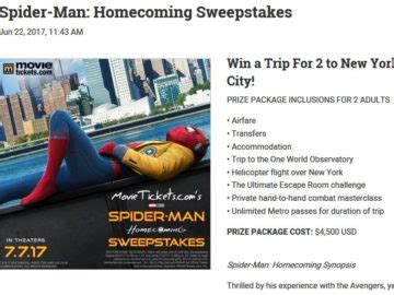 Spiderman Homecoming Sweepstakes - movietickets com spider man homecoming sweepstakes