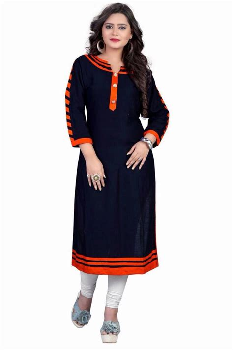 design house kurta online buy blue plain rayon kurti online