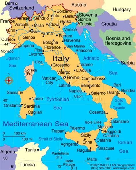 italy map with major cities maps italy