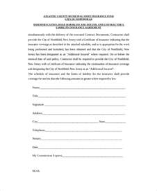 Insurance Agreement Template 12 hold harmless agreements free sample example