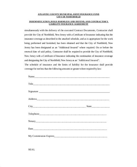 insurance agreement template hold harmless letter pertamini co