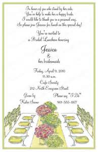 invitations for bridesmaids luncheon wording 10 bridal luncheon invitations with envelopes free return