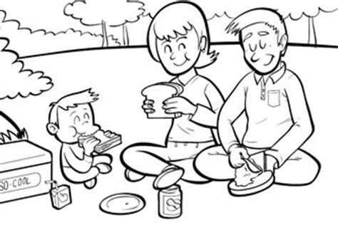 coloring pages of family picnic the great outdoors series picnic grandparents com