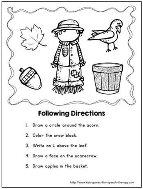 speech therapy worksheets for preschoolers speech therapy activities scarecrow crafts and therapy activities on