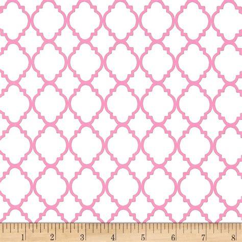 pink pattern upholstery fabric quatrefoil white pink discount designer fabric fabric com