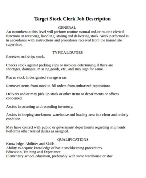 Stock Clerk Description by Stock Clerk Description Sle 8 Exles In Word Pdf