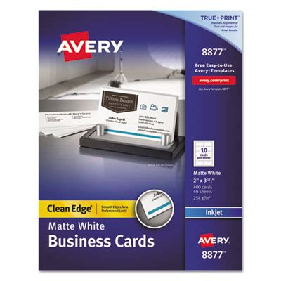 Avery Business Cards 8877 Template by Avery Clean Edge True Print White Matte Business Cards