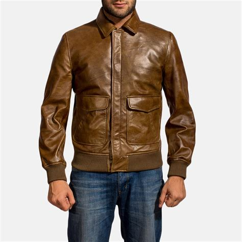 Jaketexpress Boomber Brown Jacket Boomber mens coffmen brown leather bomber jacket