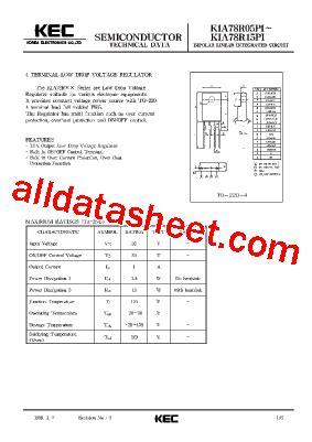 integrated circuit kia78r kia78r05pi datasheet pdf kec korea electronics