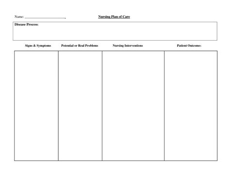 blank nursing care plan templates blank care plan