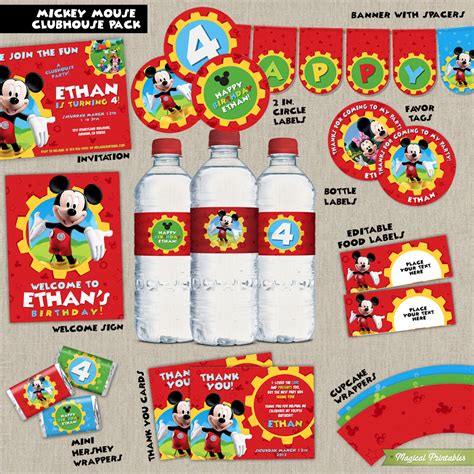 mickey mouse clubhouse printable birthday decorations disney mickey mouse clubhouse printable party package