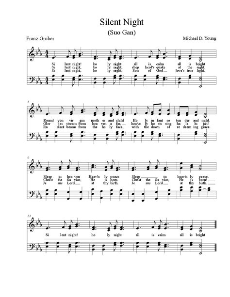 printable sheet music silent night silent night by michael d young satb