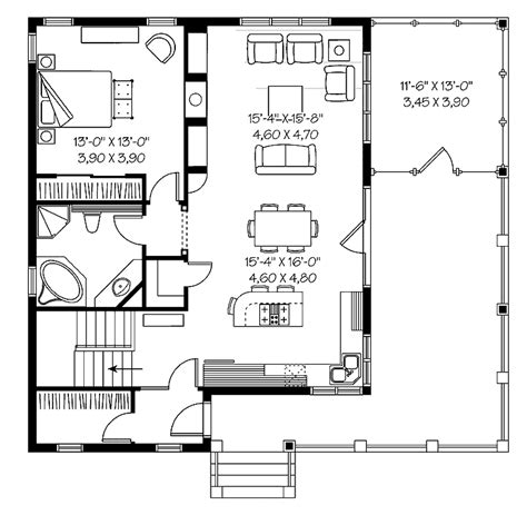 One Bedroom Home Floor Plans One Bedroom Bungalow Hwbdo66485 Bungalow House Plan