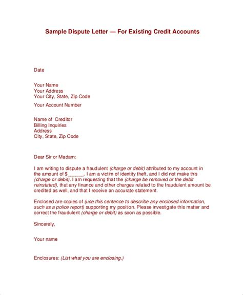 letter of dispute sle credit dispute letter template best free home