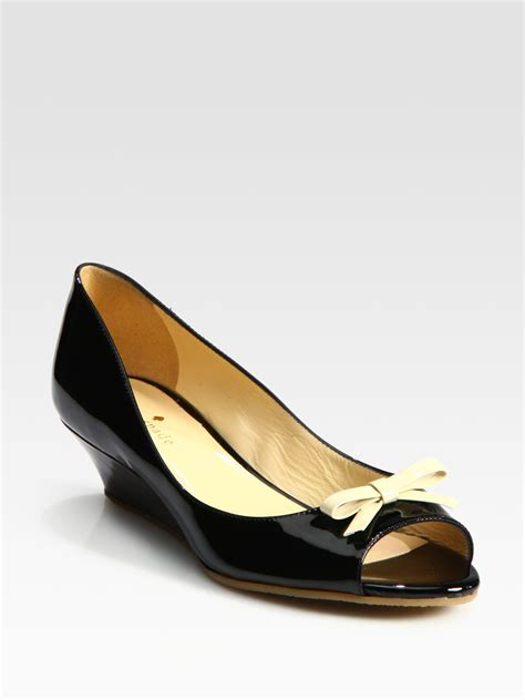 Kate Spade Wedges 1 lyst kate spade new york tracey patent leather peep toe wedge bow pumps in black