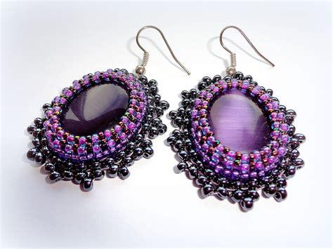 purple beaded earrings purple earrings purple cat eye earrings bead by kristinesbeads
