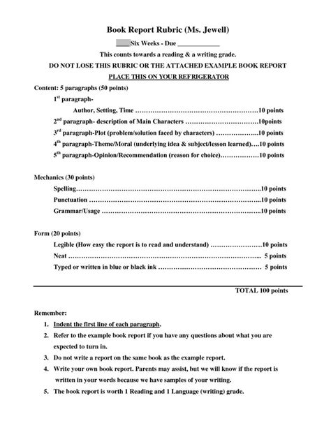Report Writing For Grade 9 by Book Report Rubric Classroom Reading Book Reports Rubrics And Book