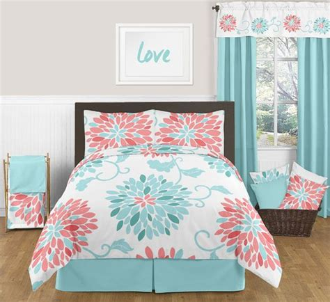Emma Turquoise And Coral Bedding Set Full Queen 3pc Coral And Teal Bedding Sets