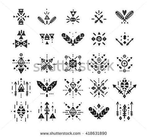 aztec tribal pattern meaning handdrawn tribal patterns with line arrow feathers