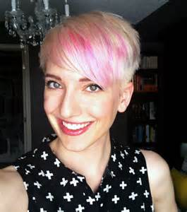 My new do platinum blush pixie haircut with pink highlights