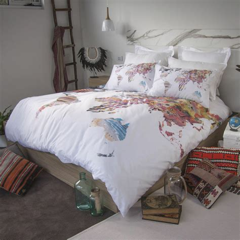 retro home world map australia quilt doona cover set
