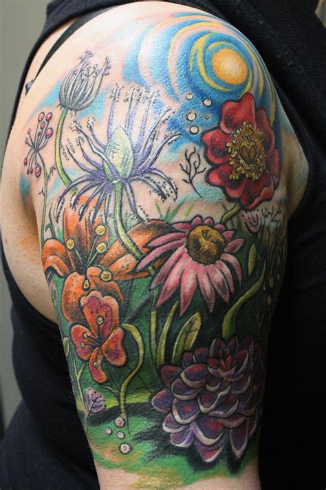 watercolor tattoo wildflowers wildflower half sleeve larsons tattooing