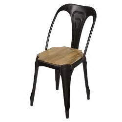 chaise indus en m 233 tal noir mat et manguier multipl s