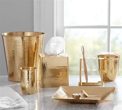 Brass Bathroom Accessories Hammered Brass Bath Accessories Pottery Barn