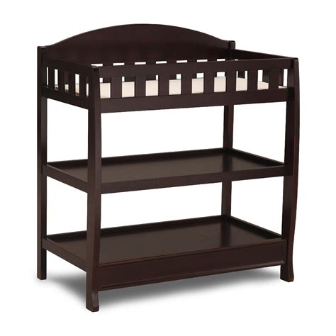 Baby On Changing Table Delta Children Chocolate Changing Table With Pad Baby Baby Furniture Changing Tables