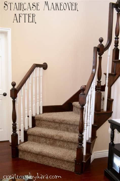 how to stain wood banister how to transform a staircase banister with stain and paint home redeco pinterest