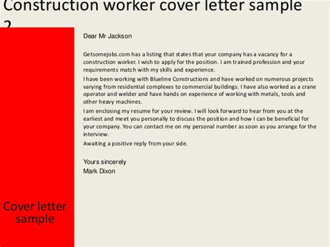 Cover Letter For A Construction Worker Construction Worker Cover Letter