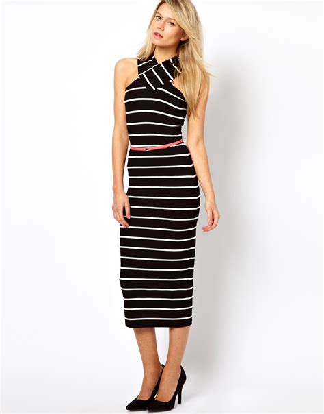 Stripe Crossover Dress Size Sml 1 ted baker striped midi dress with cross neck and belt in black lyst