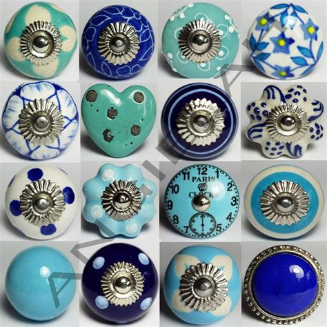 details about blue ceramic door knobs mix match vintage