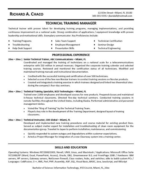 exle technical trainer resume sle