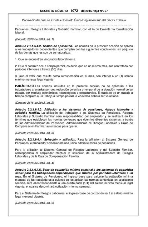 decreto 1072 del 2015 decreto 1072 de 2015 250 nico reglamentario del sector trabajo