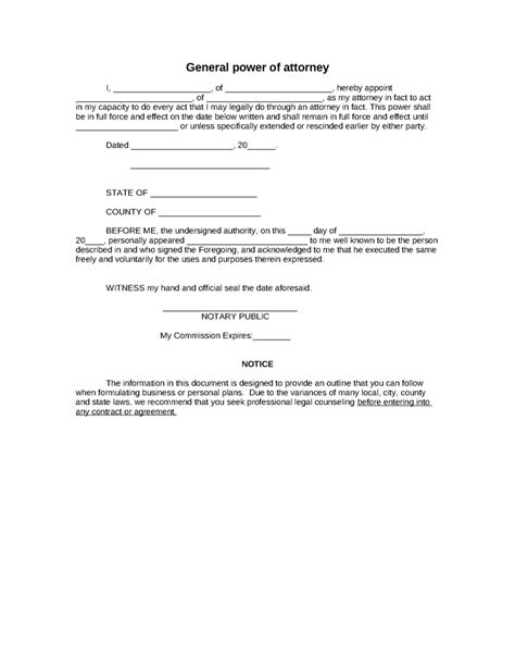 power attorney template sle power of attorney form