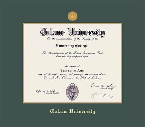 Tulane Mba Program by Custom Diploma Frames Certificate Frames Framing