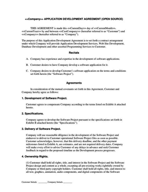 software contract agreement template software development contract template free