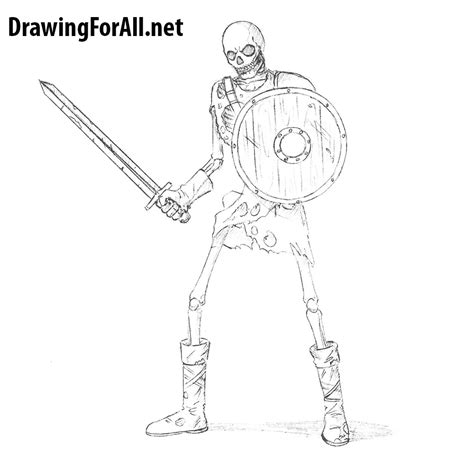 How To Draw A Skeleton how to draw a skeleton warrior drawingforall net