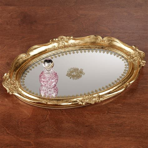 Vanity Trays by Adina Gold Scalloped Mirrored Vanity Tray