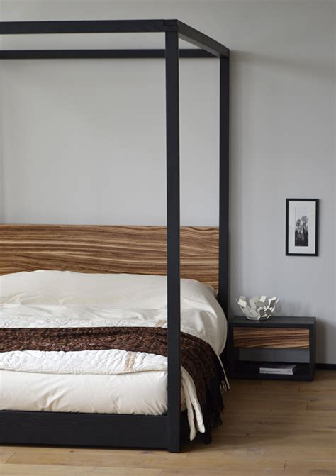 zebrano cube 4 poster bed natural bed company choosing a modern four poster bed blog natural bed co