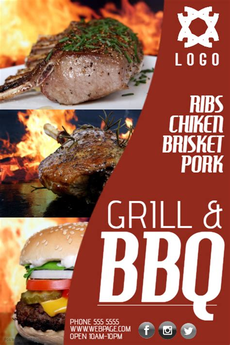 copy  bbq barbecue grill business company poster