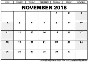 2018 Monthly Calendar With Holidays November 2018 Calendar Printable With Holidays Monthly